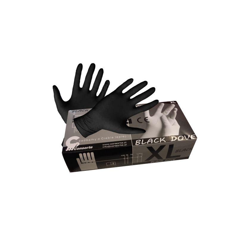 Rękawice nitrylowe bezpudrowe BLACK DOVE