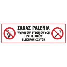 Znak: Zakaz palenia wyrobów tytoniowych i papierosów elektronicznych
