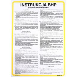 Instrukcja BHP przy obsłudze wiertartki