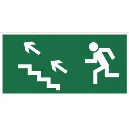 Kierunek do wyjścia drogi ewakuacyjnej schodami w górę (na lewo)