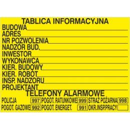 Budowlana tablica informacyjna